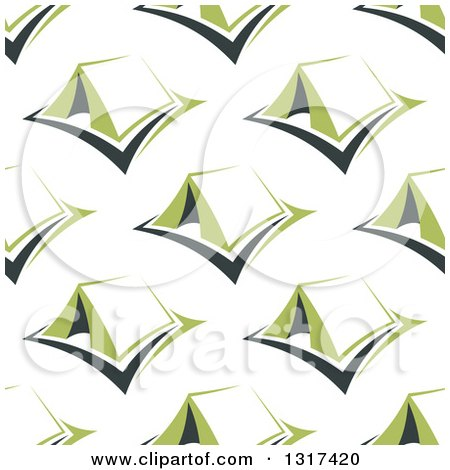Clipart of a Seamless Background Pattern of Green Tents - Royalty Free Vector Illustration by Vector Tradition SM