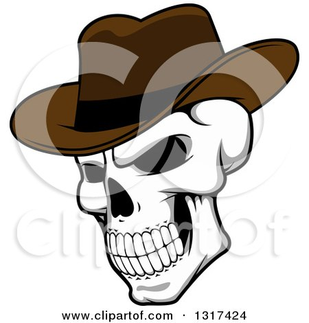 Clipart of a Cartoon Human Skull Wearing a Cowboy Hat - Royalty Free Vector Illustration by Vector Tradition SM
