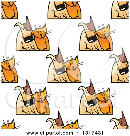Clipart of a Seamless Background Pattern of Cats and Dogs Cuddling - Royalty Free Vector Illustration by Vector Tradition SM
