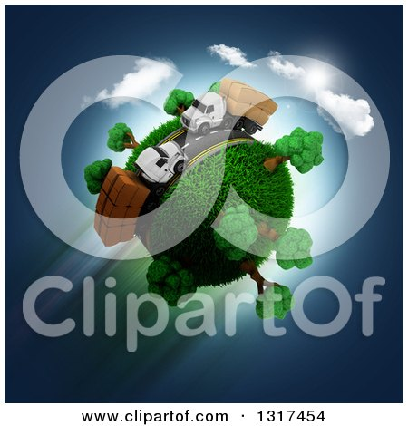 Clipart of a 3d Roadway with Big Rig Trucks Around a Grassy Planet, on Blue - Royalty Free Illustration by KJ Pargeter