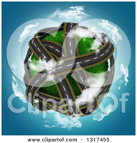 Clipart of a 3d Grassy Planet with Overlapping Roadways, Encircled with Clouds over Blue Sky - Royalty Free Illustration by KJ Pargeter