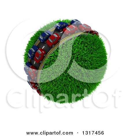 Clipart of 3d Blue and Red Cars on a Roadway Around a Grassy Planet, on White 3 - Royalty Free Illustration by KJ Pargeter