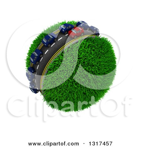 Clipart of 3d Blue and Red Cars on a Roadway Around a Grassy Planet, on White 4 - Royalty Free Illustration by KJ Pargeter