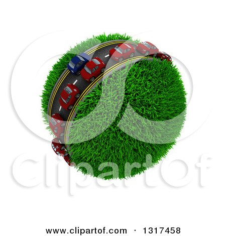 Clipart of 3d Blue and Red Cars on a Roadway Around a Grassy Planet, on White 5 - Royalty Free Illustration by KJ Pargeter