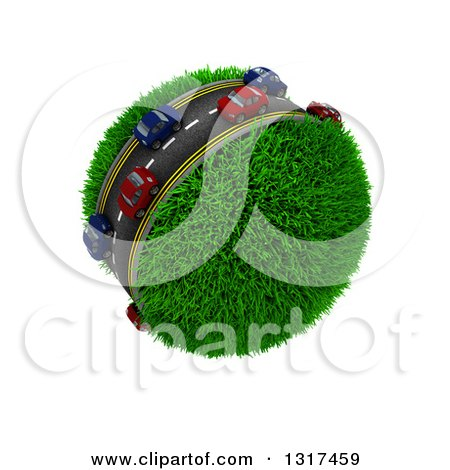 Clipart of 3d Blue and Red Cars on a Roadway Around a Grassy Planet, on White 2 - Royalty Free Illustration by KJ Pargeter