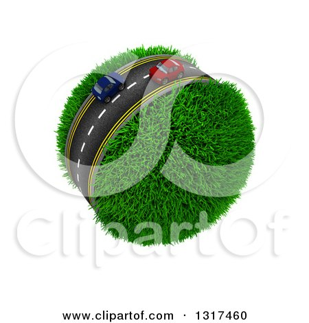 Clipart of 3d Blue and Red Cars on a Roadway Around a Grassy Planet, on White - Royalty Free Illustration by KJ Pargeter