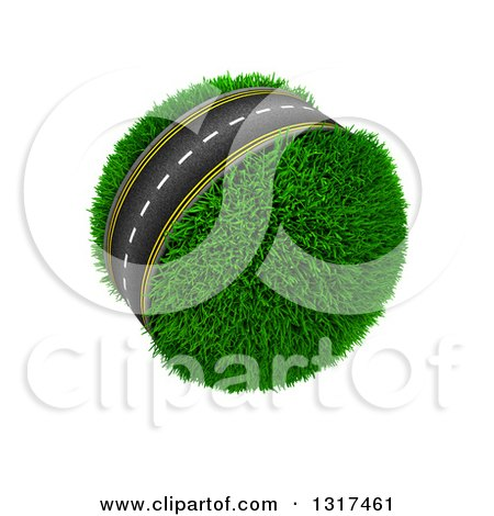 Clipart of a 3d Roadway Around a Grassy Planet, on White 2 - Royalty Free Illustration by KJ Pargeter