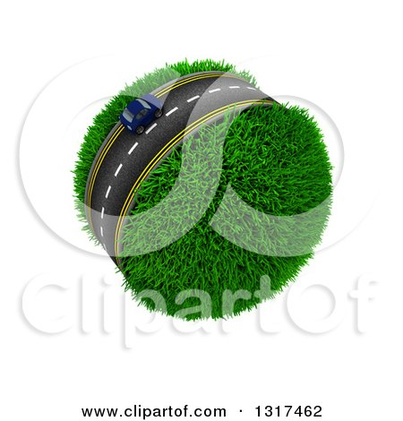 Clipart of a 3d Lone Blue Car on a Roadway Around a Grassy Planet, on White - Royalty Free Illustration by KJ Pargeter