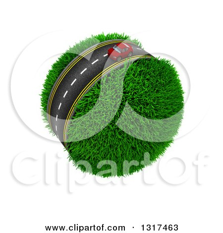 Clipart of a 3d Lone Red Car on a Roadway Around a Grassy Planet, on White - Royalty Free Illustration by KJ Pargeter