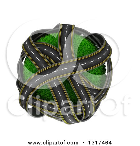 Clipart of 3d Overlapping Roadways Around a Grassy Planet, on White - Royalty Free Illustration by KJ Pargeter