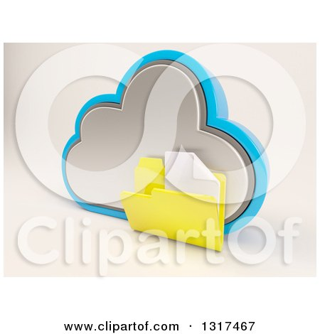 Clipart of a 3d Cloud Storage Icon with a Plain Document Folder, on off White 2 - Royalty Free Illustration by KJ Pargeter