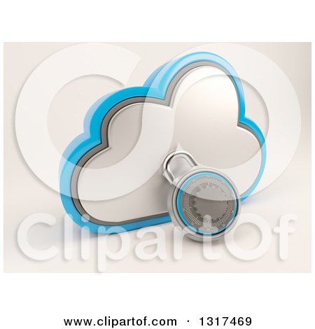 Clipart of a 3d Cloud Storage Icon with a Round Padlock, on Shaded White 2 - Royalty Free Illustration by KJ Pargeter