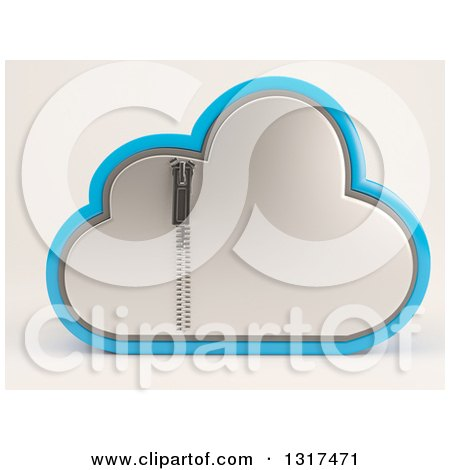 Clipart of a 3d Silver and Blue Zipped Secured Cloud Drive Icon, on off White - Royalty Free Illustration by KJ Pargeter