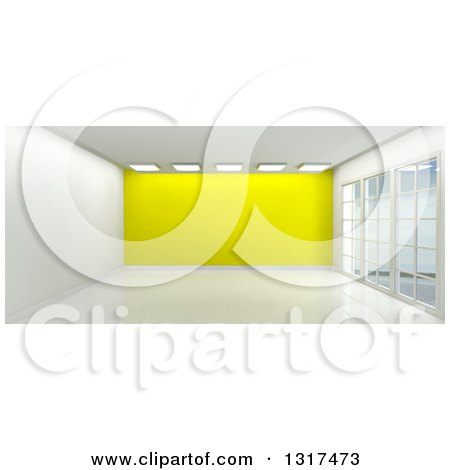 Clipart of a 3d Empty Room Interior with Floor to Ceiling Windows, Ceiling Lights and a Yellow Feature Wall 2 - Royalty Free Illustration by KJ Pargeter