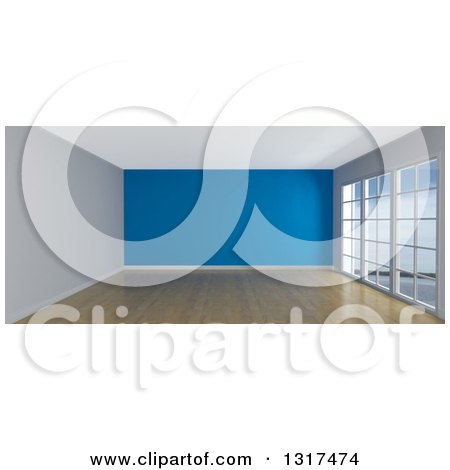 Clipart of a 3d Empty Room Interior with Floor to Ceiling Windows, Wooden Flooring, and a Blue Feature Wall - Royalty Free Illustration by KJ Pargeter