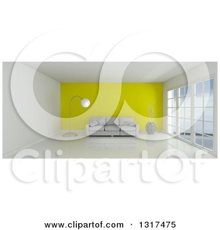 Clipart of a 3d White Room Interior with Floor to Ceiling Windows, a Yellow Feature Wall and Furniture - Royalty Free Illustration by KJ Pargeter