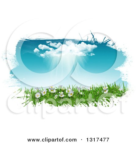 Clipart of a White Grunge Border Around a 3d Sunny Spring Day Background with Blue Sky, a Rain Cloud, Daisies and Grass - Royalty Free Illustration by KJ Pargeter