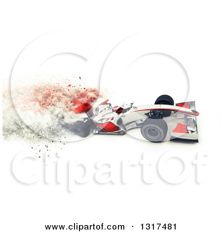 Clipart of a 3d F1 White and Red Race Car with Speed Blur Effect - Royalty Free Illustration by KJ Pargeter