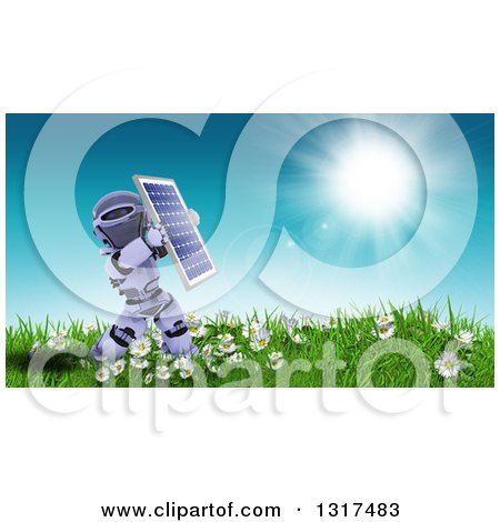 Clipart of a 3d Robot Holding up a Solar Panel in a Sunny Meadow with Flowers - Royalty Free Illustration by KJ Pargeter