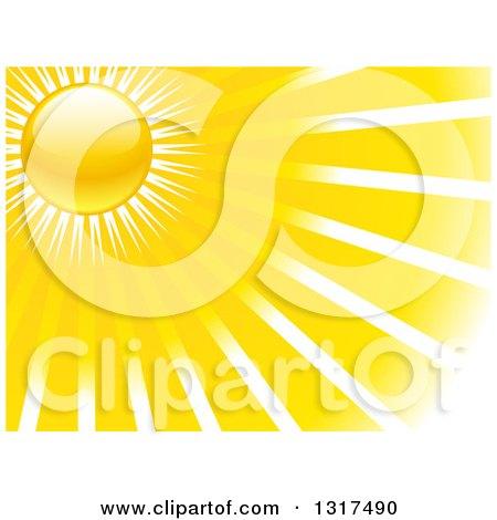 Clipart of a Shiny Sun Shining Yellow Rays - Royalty Free Vector Illustration by elaineitalia