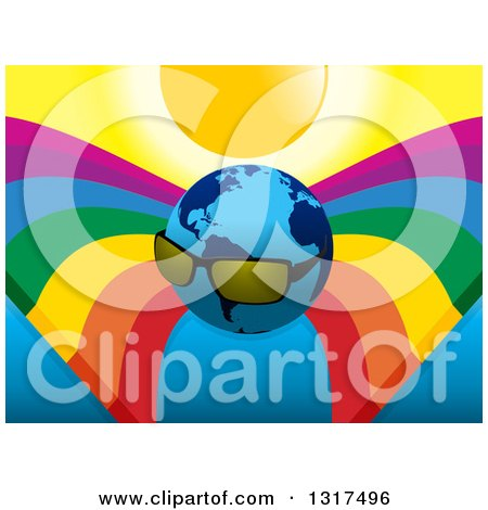 Clipart of a Planet Earth Wearing Shades Under a Sun and Rainbows - Royalty Free Vector Illustration by elaineitalia