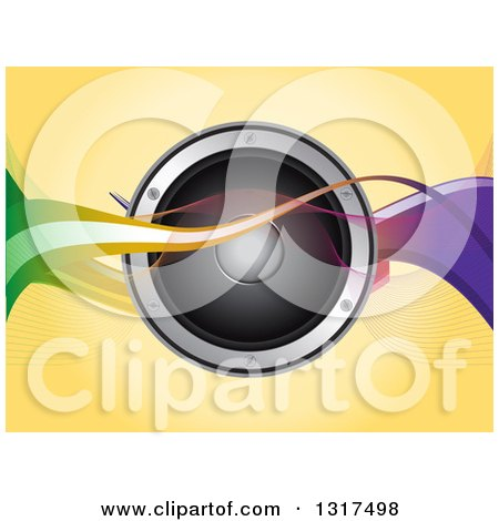 Clipart of a 3d Music Speaker with Colorful Waves over Yellow - Royalty Free Vector Illustration by elaineitalia