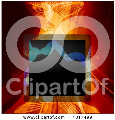 Clipart of a Black Square Frame over Mesh Waves and Swooshes in Red Tones with Flares - Royalty Free Vector Illustration by elaineitalia