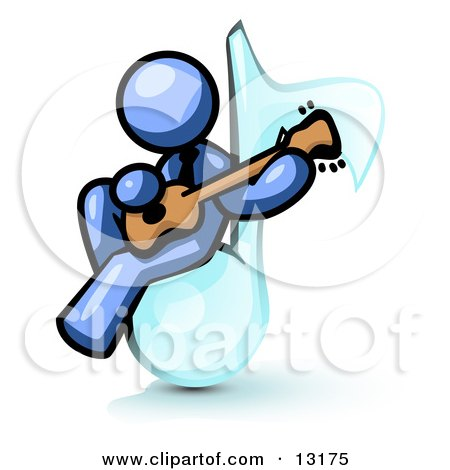 Blue Man Sitting on a Music Note and Playing a Guitar Clipart Illustration by Leo Blanchette