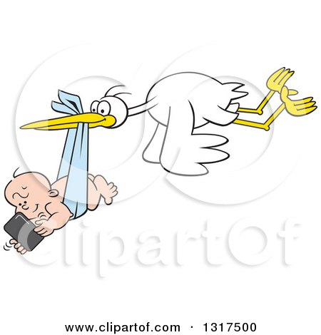 Clipart of a Cartoon Digital Delivery Stork Flying a Baby Boy Using a Cell Phone - Royalty Free Vector Illustration by Johnny Sajem
