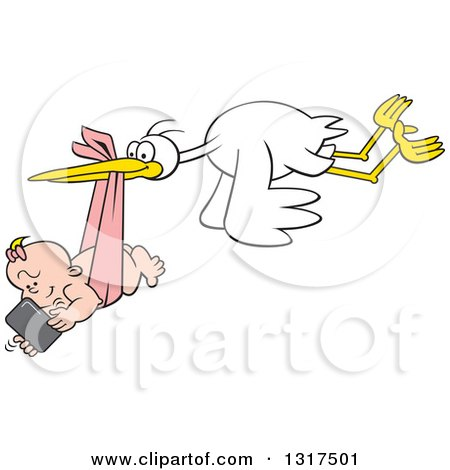 Clipart of a Cartoon Digital Delivery Stork Flying a Baby Girl Using a Cell Phone - Royalty Free Vector Illustration by Johnny Sajem