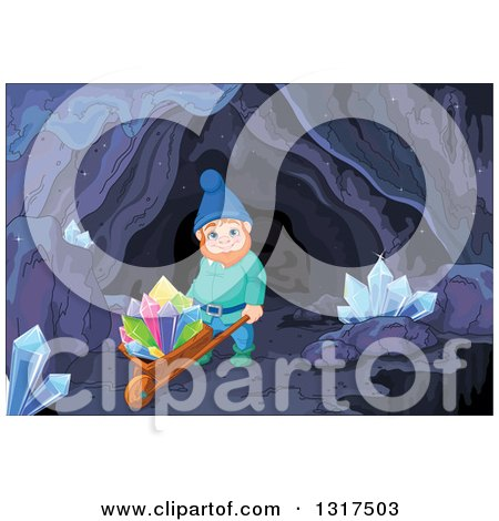 Clipart of a Mining Gnome Pushing Colorful Crystals on a Wheelbarrow in a Mining Cave - Royalty Free Vector Illustration by Pushkin