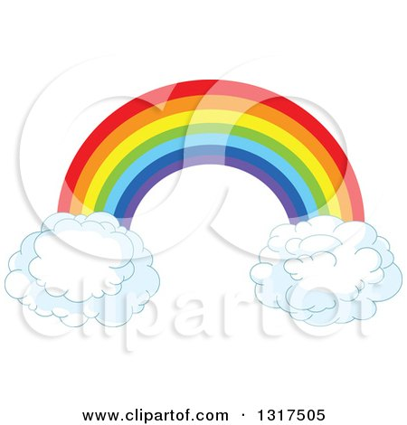 Clipart of a Rainbow Arch with Puffy Cloud Ends - Royalty Free Vector Illustration by Pushkin