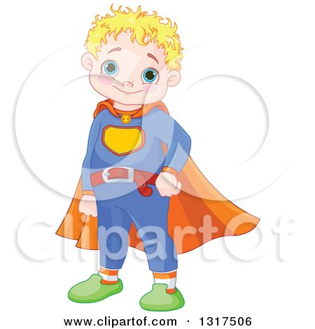 Clipart of a Happy Blond Haired, Blue Eyed, Caucasian Chubby Super Hero Boy Wearing a Belt and Cape - Royalty Free Vector Illustration by Pushkin