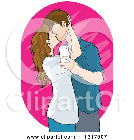 Clipart of a Caucasian Teenage Couple Kissing and Taking a Selfie or Usie - Royalty Free Vector Illustration by David Rey