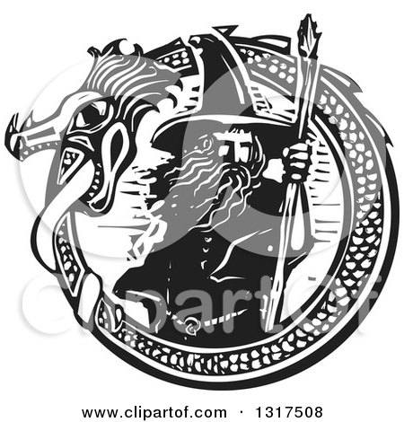 Clipart of a Black and White Woodcut Wizard Standing with a Staff in a Dragon Circle - Royalty Free Vector Illustration by xunantunich