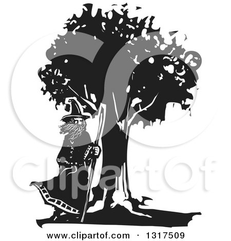 Clipart of a Black and White Woodcut Wizard Standing by a Tree with a Staff in a Breeze - Royalty Free Vector Illustration by xunantunich