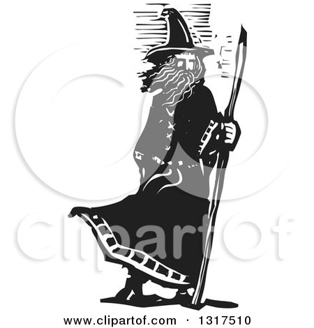Clipart of a Black and White Woodcut Wizard Standing with a Staff in a Breeze - Royalty Free Vector Illustration by xunantunich