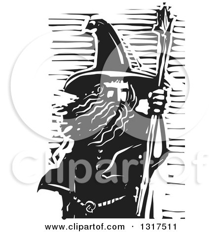 Clipart of a Black and White Woodcut Wizard with a Staff - Royalty Free Vector Illustration by xunantunich