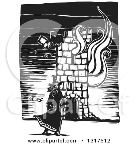 Clipart of a Black and White Woodcut Wizard Standing with a Staff in Front of a Burning Tower - Royalty Free Vector Illustration by xunantunich