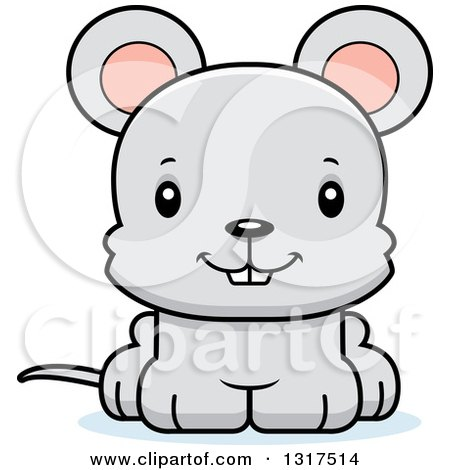 Animal Clipart of a Cartoon Cute Happy Mouse - Royalty Free Vector Illustration by Cory Thoman