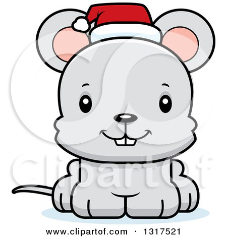 Animal Clipart of a Cartoon Cute Happy Christmas Mouse Wearing a Santa Hat - Royalty Free Vector Illustration by Cory Thoman