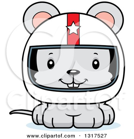 Animal Clipart of a Cartoon Cute Happy Mouse Race Car Driver - Royalty Free Vector Illustration by Cory Thoman