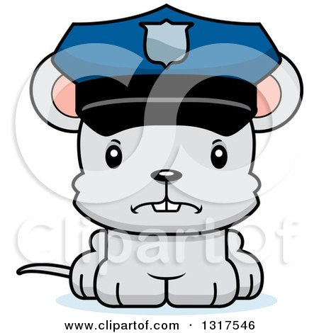 Animal Clipart of a Cartoon Cute Mad Mouse Police Officer ...