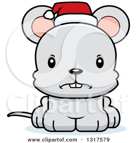 Animal Clipart of a Cartoon Cute Mad Christmas Mouse Wearing a Santa Hat - Royalty Free Vector Illustration by Cory Thoman