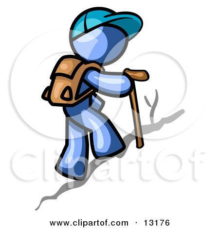 Blue Man Backpacking and Hiking Uphill Clipart Illustration by Leo Blanchette