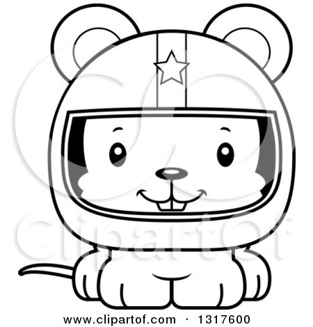 Animal Lineart Clipart of a Cartoon Black and WhiteCute Happy Mouse Race Car Driver - Royalty Free Outline Vector Illustration by Cory Thoman