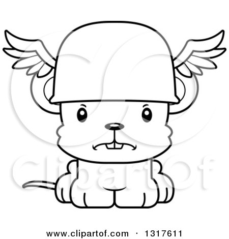 Animal Lineart Clipart of a Cartoon Black and WhiteCute Mad Mouse Hermes - Royalty Free Outline Vector Illustration by Cory Thoman