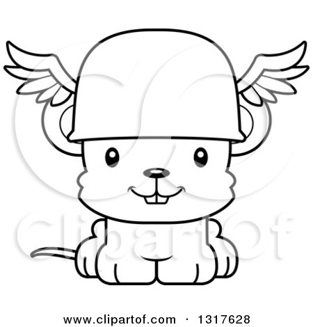 Animal Lineart Clipart of a Cartoon Black and WhiteCute Happy Mouse Hermes - Royalty Free Outline Vector Illustration by Cory Thoman