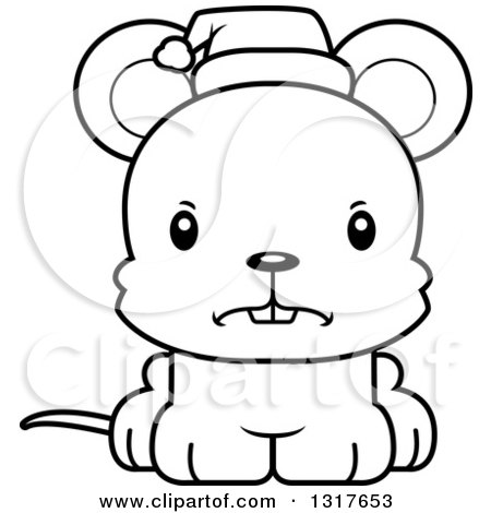 Animal Lineart Clipart of a Cartoon Black and WhiteCute Mad Christmas Mouse Wearing a Santa Hat - Royalty Free Outline Vector Illustration by Cory Thoman