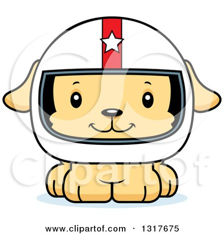 Animal Clipart of a Cartoon Cute Happy Puppy Dog Race Car Driver - Royalty Free Vector Illustration by Cory Thoman